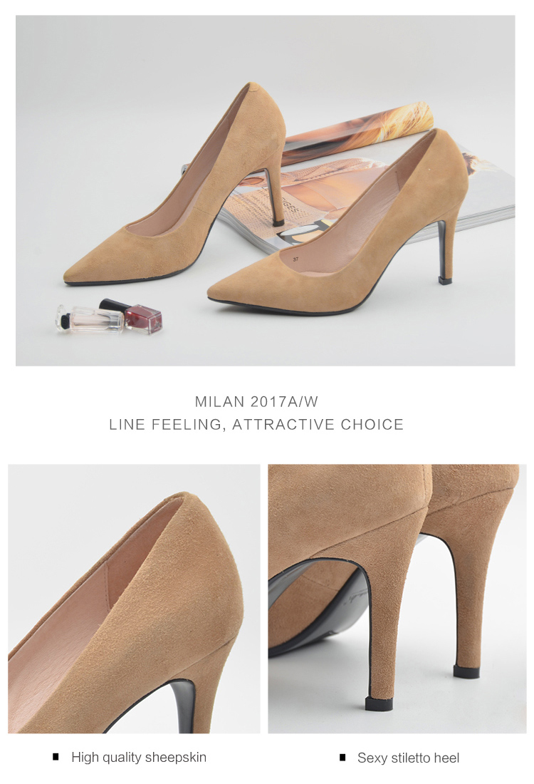 Donna-in 2017 New Style High heels pumps Natural suede leather Sexy Pointed Toe Office Singles Heeled woman Shoes 3255-1 (7)