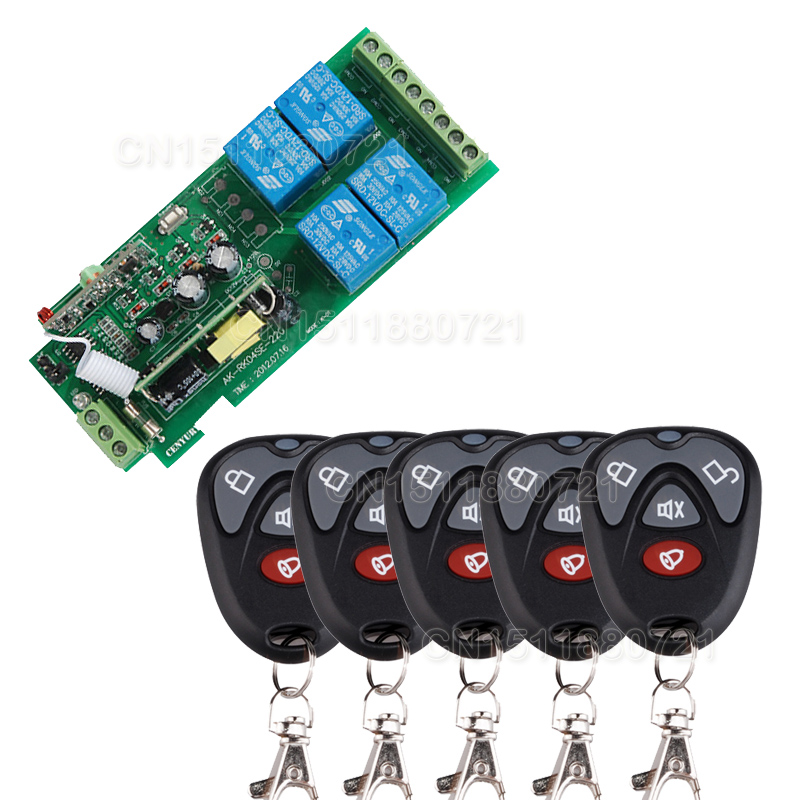 85v~250V 110V 220V 4CH RF Wireless Remote Control Relay Switch System With 5PCS Transmitter Garage Doors Electric Doors dc24v 12v 9v remote control relay 1ch wireless rf remote control switch transmitter with receive for electric gates doors