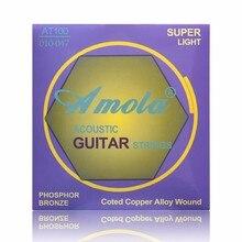 Amola Acoustic Guitar Super Light 010 Phosphor Bronze Coted Copper Alloy Wound  Steels 1 Sets AT100