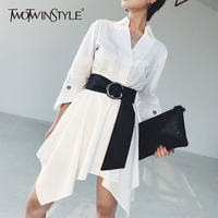 TWOTWINSTYLE Irregular Dress Female Tunic High Waist V Neck Patchwork Three Quarter Sleeve Mini Shirt Dresses