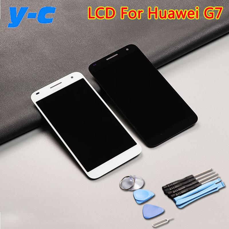 Prix pour Pour Huawei Ascend G7 Écran lcd + Écran Tactile 100% Nouveau G7-UL20 Digitizer Panneau de Verre de Remplacement Pour Huawei G7