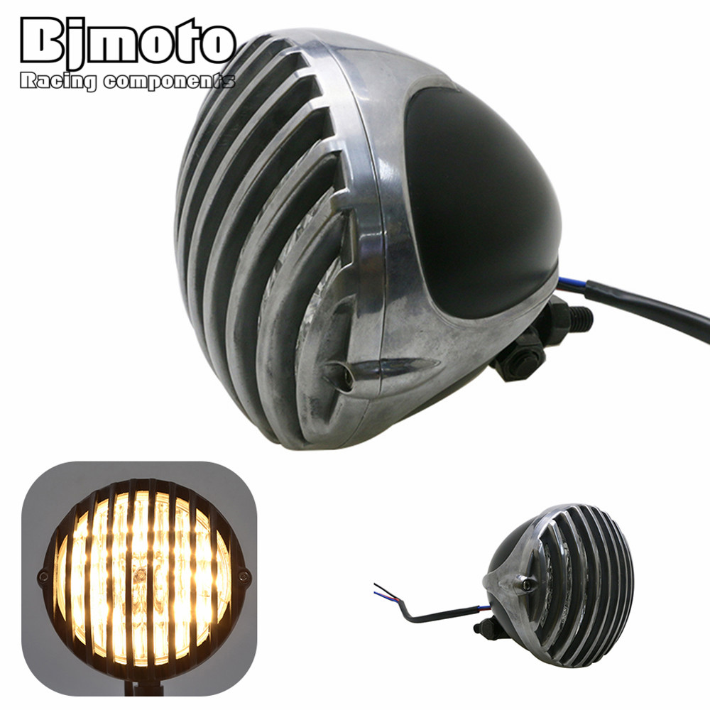 BJMOTO Aluminum Motorcycle Old School Scalloped Vintage Deep Cut Finned Grill Headlight For Harley Chopper Bobber Cafe Racer mayitr aluminium 5 motorcycle finned grill headlight for cafe racer bobber xs650 cb750 honda yamaha suzuki kawasaki