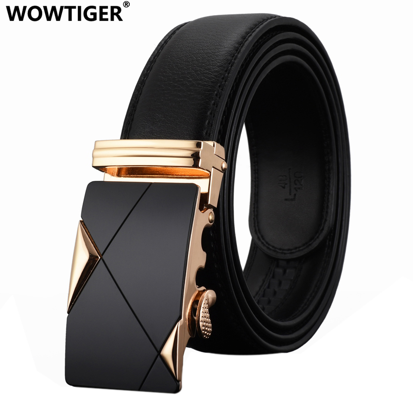 WOWTIGER Men`s Fashion Automatic Buckle Leather luxury Man cinturones - Apparel Accessories