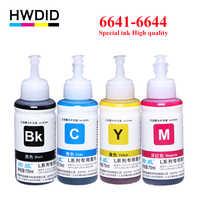 Hwdid 4x70 ml recarga tintura tinta 664 conjunto 6641 compatível para epson l100 l101 l110 l120 l200 l201 l210 l220 l300 l350 l355 l550 l555