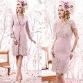 Laço cor de rosa Na Altura Do Joelho Duas Peças Mãe Dos Vestidos de Noiva Com Jaqueta Custom Made Vestido Formal Para A Festa de Casamento
