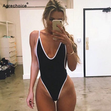 2019 New Sexy One Piece Swimsuit Women Swimwear Thong Monokini Swimsuit High Cut Backless Bathing Suits Swimming Suit For Women