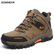 GOMNEAR Sneakers For Men Outdoor Hiking Fishing Waterproof Hunting antiskid tourism Trend Boots Men Comfortable walking Shoes