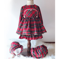 2019 New Year Dress for Girls Spain Princess Brithday Party Red Plaid Baby Dress Long Sleeve Kids Clothes England Robe Fille