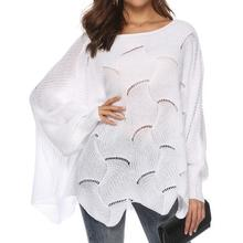 265a919fb9f Womens Knitted Sweater Pullover Plus Size Long sleeve Cloak Winter Hook  Flowers Sweater Solid Color Women