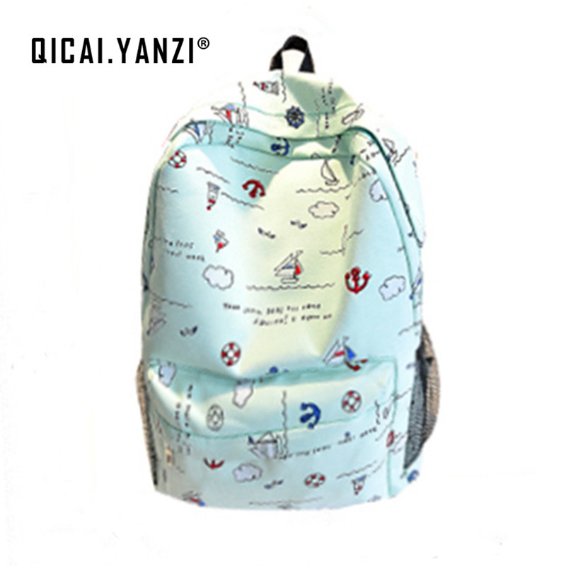 QICAI.YANZI 2017 Women bags Backpack Girl School Fashion Shoulder Bag Rucksack Canvas Travel Bags Top Quality P106