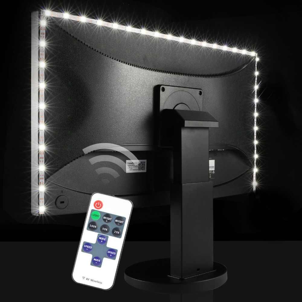 5V USB Lampu LED Strip SMD 2835 60 LED/M Lampu Meja Fleksibel Pita Dekorasi Rumah RF Remote dimmable TV Pencahayaan Latar Belakang