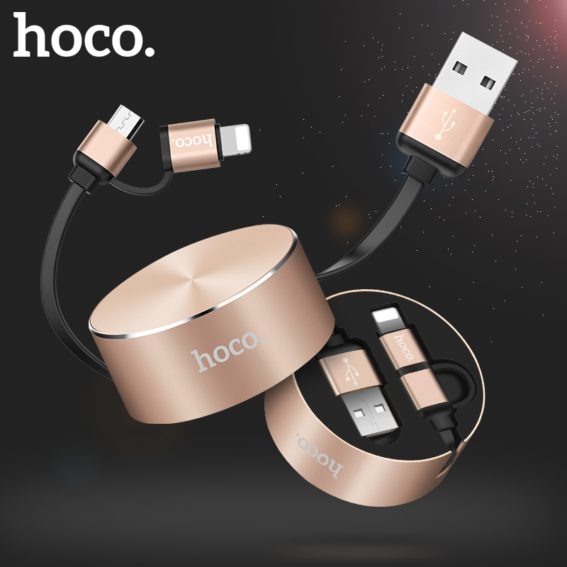 HOCO 2 in 1 USB Cable Retractable for Apple iPhone Charger Micro USB Type C Fast Charging Cable For iPhone X 8 7 Samsung Xiaomi