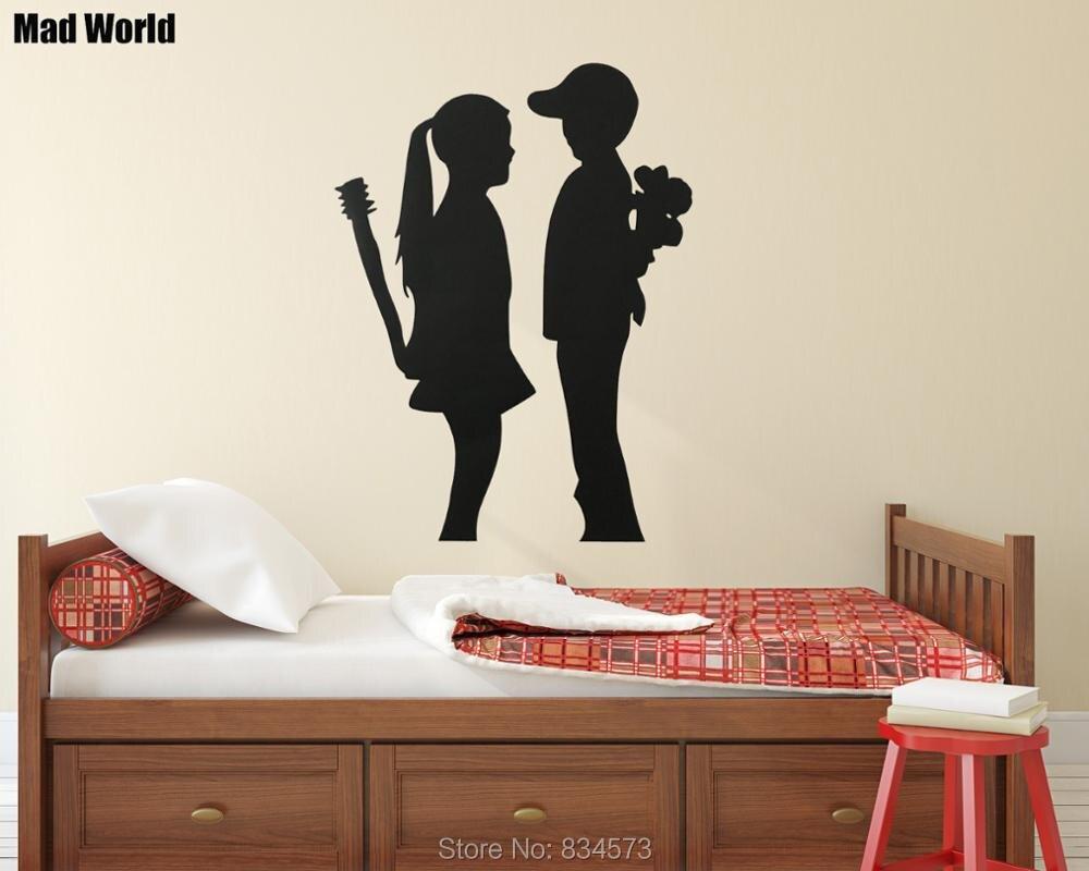 Wunderbar Wandtattoo Welt Foto Von Mad Junge Erfüllt Mädchen Silhouette Wandkunst Aufkleber
