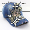 Hot Sale 2015 New Retail Luxurious Gold Lace Cowboy Women Baseball Cap Hat Rhinestone Print Diamond Point Cap Free Shipping