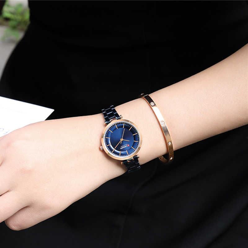 แบรนด์ผู้หญิงนาฬิกา Minimalist Quartz Rose Gold สร้อยข้อมือนาฬิกาสำหรับสุภาพสตรีสีฟ้าผู้หญิงนาฬิกา Relogio Feminino