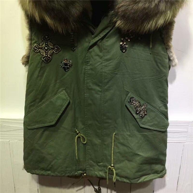 Unisex Snack beading armg green coat winnter without sleeves fur jacket hooded waistcoat