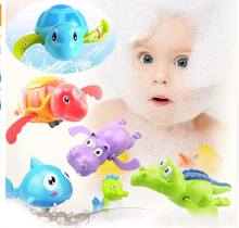 Baby Bath Toys Swim Turtle Dolphin Crocodile Floating Water Wind Up Chain Children Classic