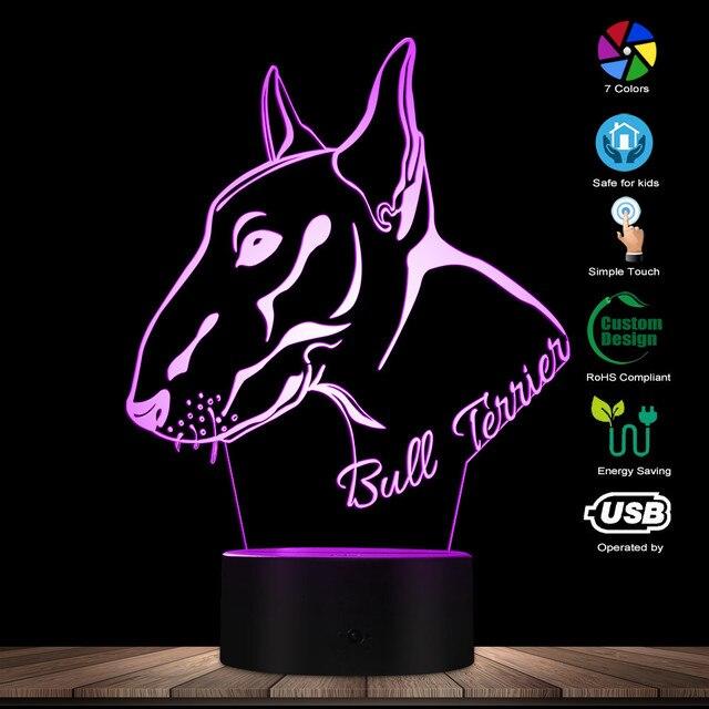 73f5f8fdf6 Inglés Pit Bull Terrier LED de luz de la noche de Casa decoración creativa  lámpara de mesa para mascotas cachorro de perro