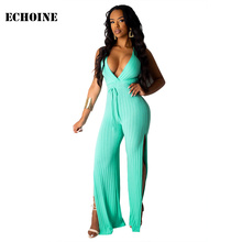 Ribbed Knitted V-neck Jumpsuit Slim Bodycon Sexy Backless Women Rompers with Belt Split Wide Leg Playsuit