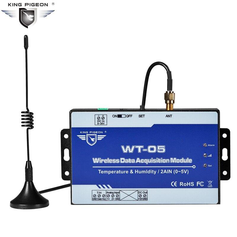 Wireless LoRa Data Acquisition Module 2 Analog Input 0-5V Modbus Slave Transmission Distance 2~5Km WT-05