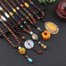Vintage Ethnic Triangle Nepal Buddhist Mala Necklace Wood Beads Statement Necklaces Buddha Pendants Necklace Women men цена 2017