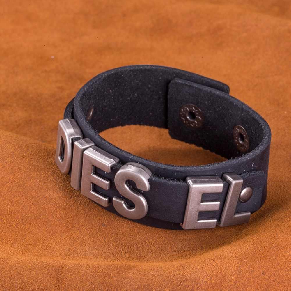 Pulsera de cuero de moda con abalorios para mujer y hombre, pulsera ajustable colorida con cuerda, brazalete para hombre y mujer, H005-B de amistad