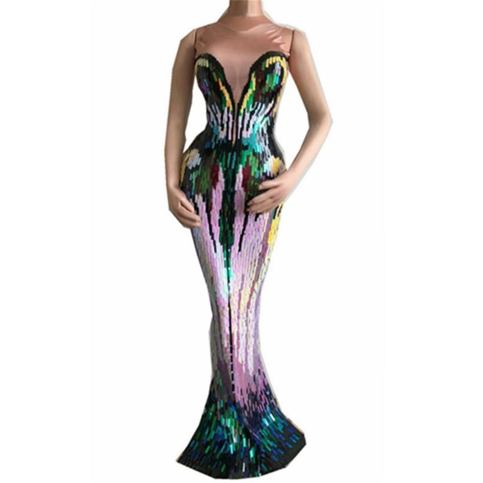 Colorful Appliques Long Dress Women Evening Party Wear Luxurious Stretch Dress Prom Birthday Celebrate Female Singer