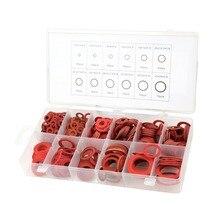 12 размеров 600 шт красный стальной Бумажное Волокно плоские шайбы комплект изоляционная шайба Ассорти набор с коробкой
