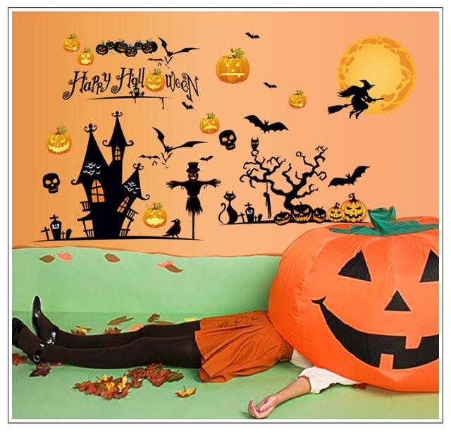Pumpkin Decoration Wall Stickers Festival Castle Witch Bat Living Room Window Waterproof Wallpaper Homedecor