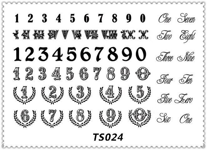 Yeeech Temporal Harajuku Tatuaje Pegatina Números Arábigos Diseño