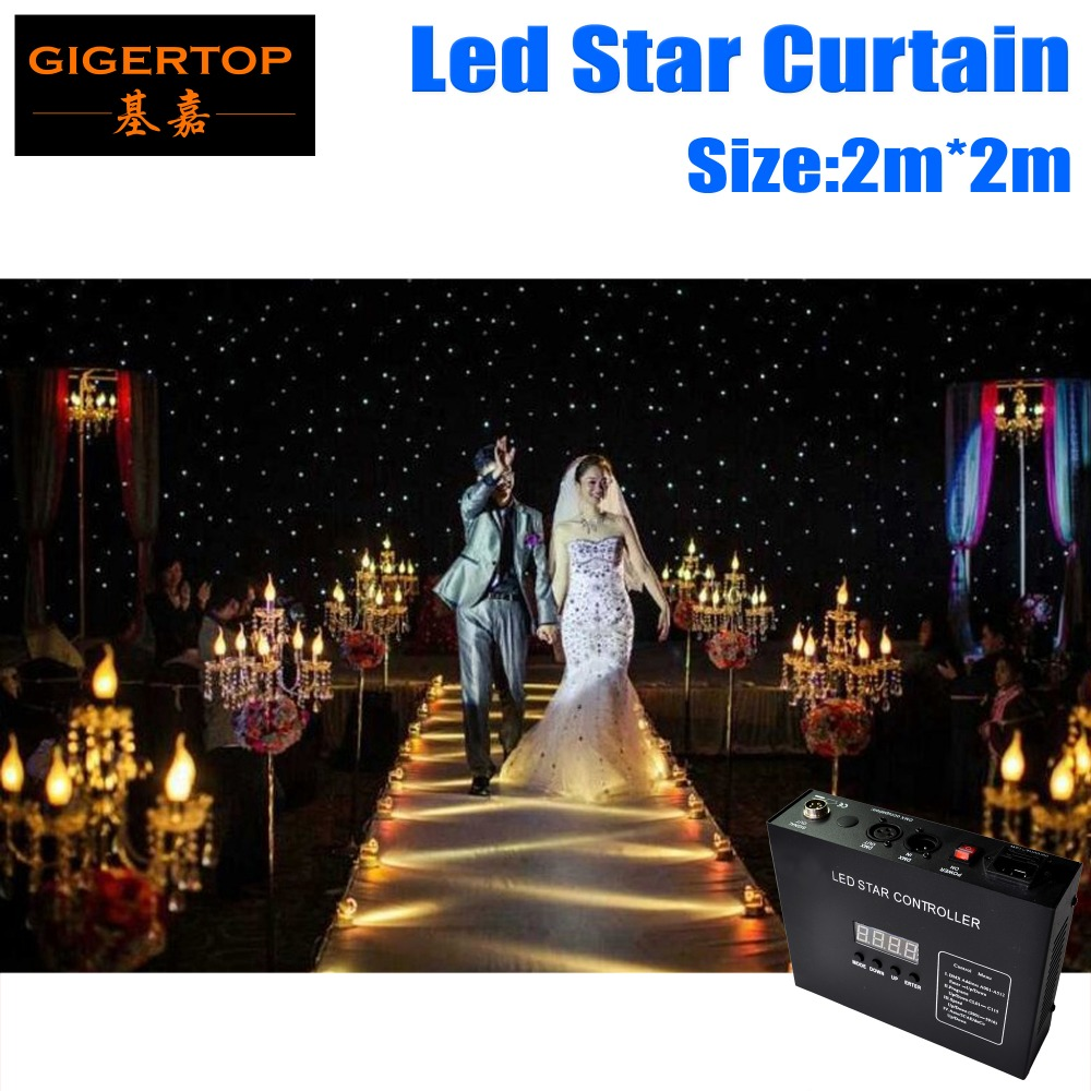 Freeshipping TP S220 2x2m Stage Background Black Led Star Curtain White+Blue Color Thick Fireproof velvet Aluminum O Ring 3Pin