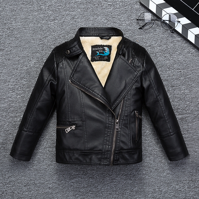 Water-proof Breathable Soft Leather Boys Jacket for Autumn Winter Kids Cool Motor Coat Bomber Children's Clothing striped trim fluffy panel bomber jacket