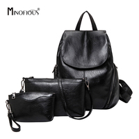 Minofious Women 3 Pcs Set PU Leather Backpacks For Teenage Girls Fashion Multifunctional Ladies Waterproof Black