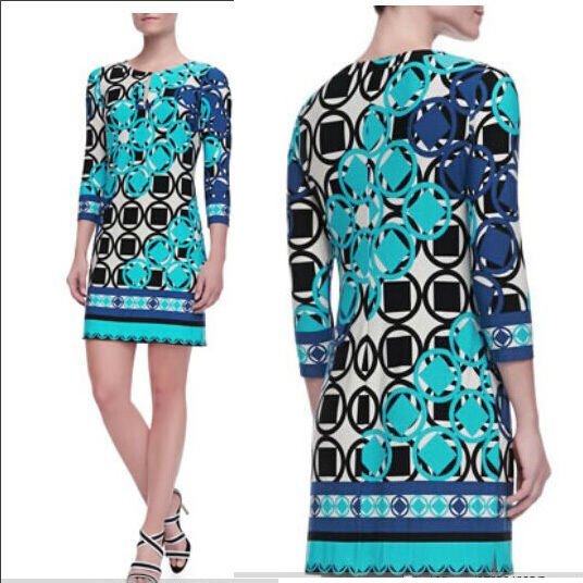 2017 couture autumn fashion beautiful printing geometric grid elastic knitted thin green dress