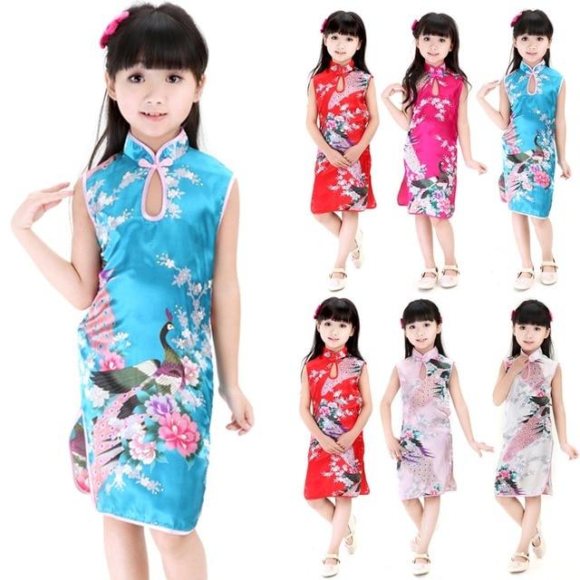 Hot sale 2Y-8Y Bebê Menina Pavão Vestido Sem Mangas Fino Vestido Tradicional Cheongsam Criança Meninas Roupas Estilo Chinês Qipao