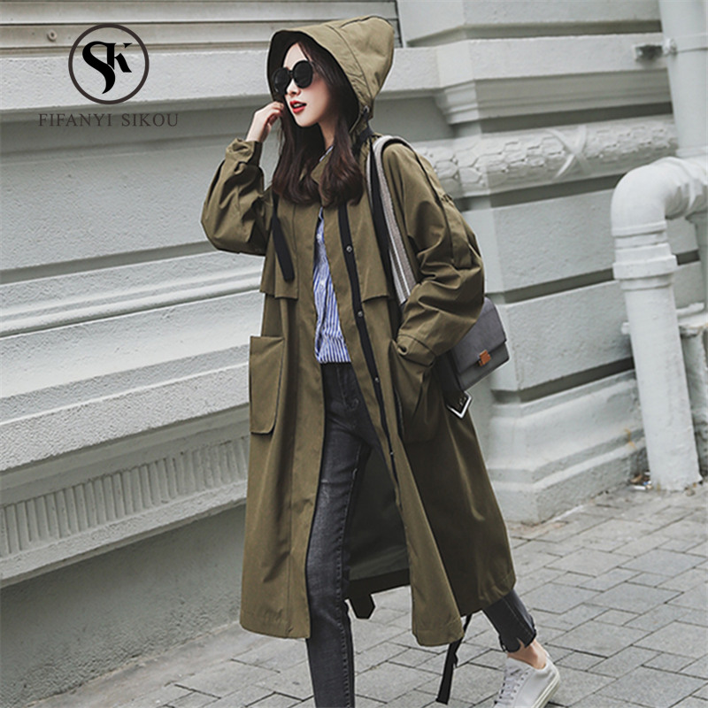 Fashion Casual Trench coat Women 2019 Spring New Single Breasted Belt Hooded Coat Loose Plus size