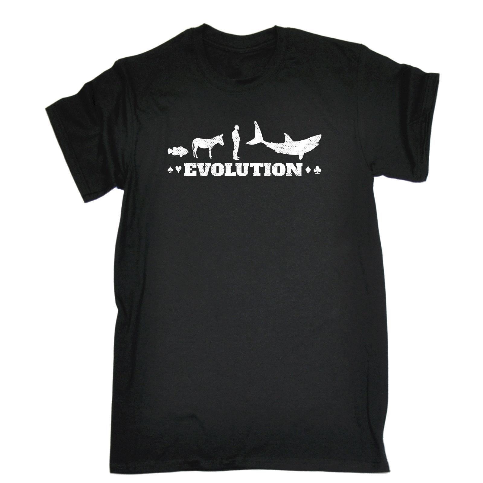 EVOLUTION POKER SHARK T-SHIRT Playing Cards Blackjack Funny Birthday Gift 123t 100% Cott ...