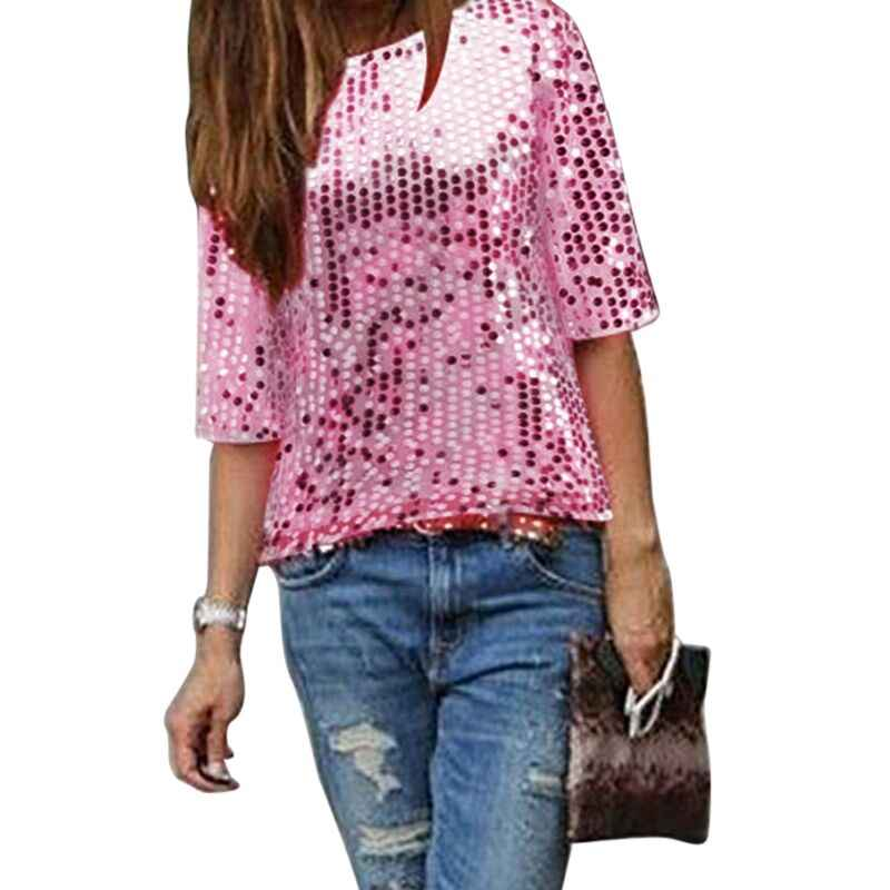 78cdbef2bef Plus Size Sequined Bling Shiny Blouse Women Tops 2018 Pink Half Sleeve  Loose Summer Shirt Glitter