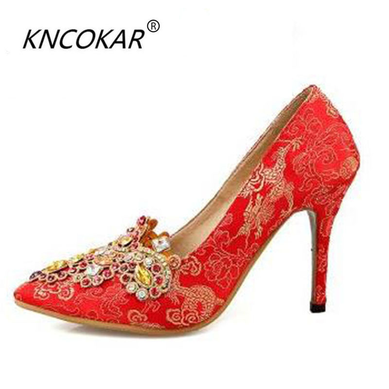 2017 spring rhinestone wedding shoes red high-heeled shoes thin heels bridal shoes pointed toe womens shoes flower chinese2017 spring rhinestone wedding shoes red high-heeled shoes thin heels bridal shoes pointed toe womens shoes flower chinese