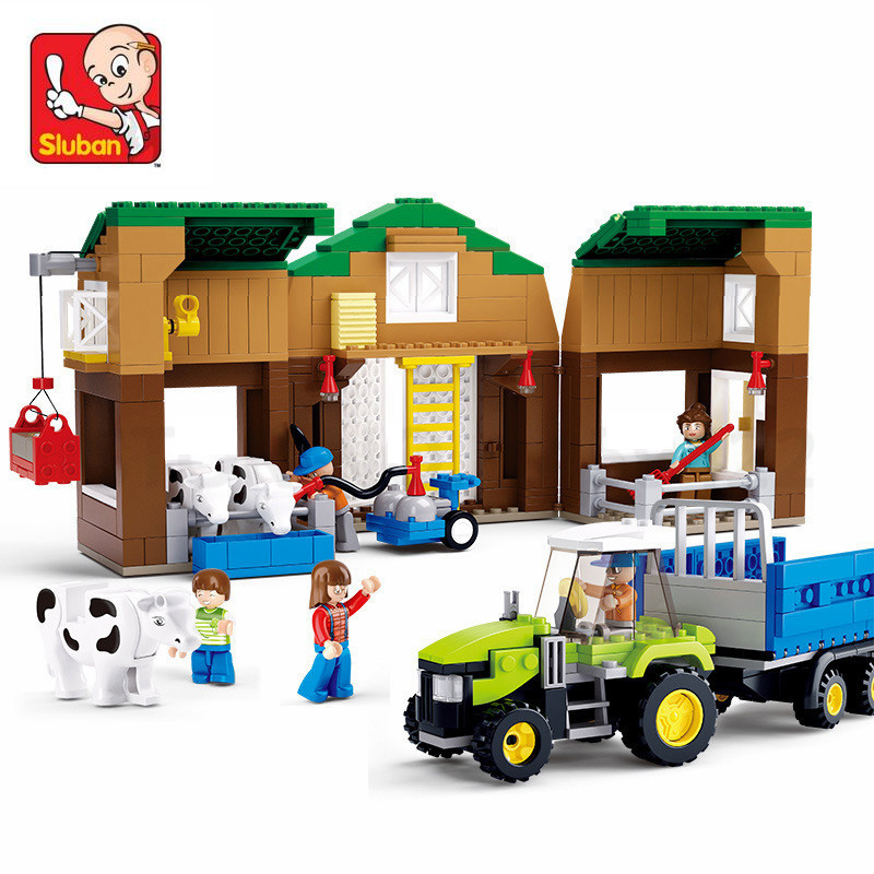 Sluban 512pcs Cow Farms Model Building Blocks Kits Toy Action Figure 3D Construction Toys for Children urban construction military base theme track assembled car railway toy portable backpack model building kits gifts children toys