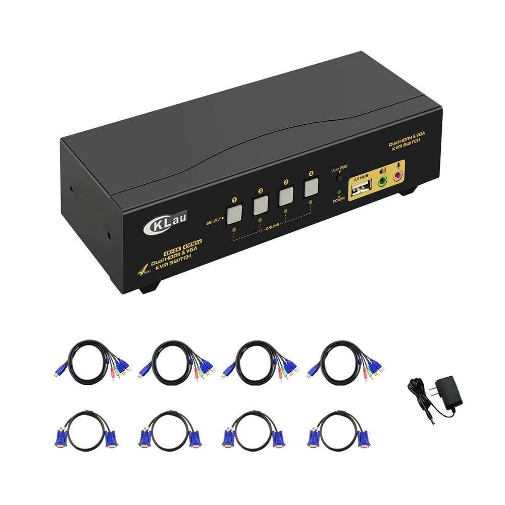Ckl Kvm Schalter Hdmi Vga Dual Monitor Mit Audio 4 Port Dual Monitor Kvm-switch Unterstützung 4k @ 30hz Erweiterte Anzeige Exquisite Traditionelle Stickkunst