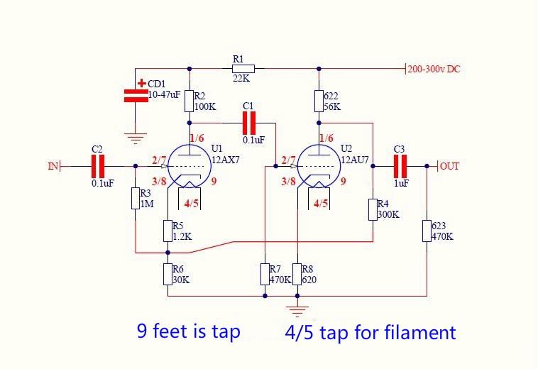 [TBQL_4184]  AIYIMA 12AX7/12AU7 Tube Preamp Amplifier PCB Board Dual Channel Tube Bile  Preamplifier Empty Board Diy|valve tube|12ax7 12au7preamp tube board -  AliExpress | 12au7 Preamp Schematic |  | AliExpress