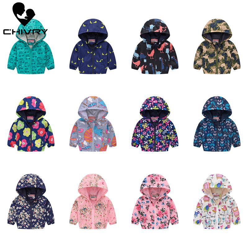 Boys Jackets Hoodies Print-Coat Kids Clothes Windbreaker Baby Zipper Infant Girls Waterproof