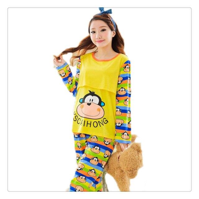 629e2b782 Maternidad Ropa de Dormir de Invierno de algodón Traje de Pijama de Dibujos  Animados De Enfermería