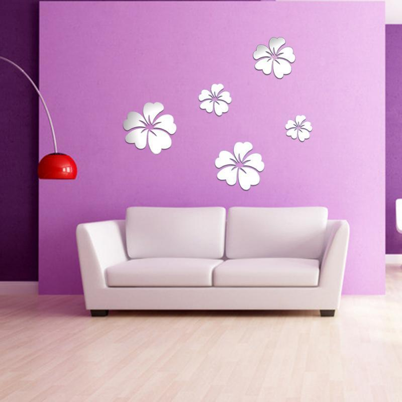 unids grande d espejo de acrlico flores pegatinas de pared decoracin del hogar para el dormitorio moderno espejo etiqueta d
