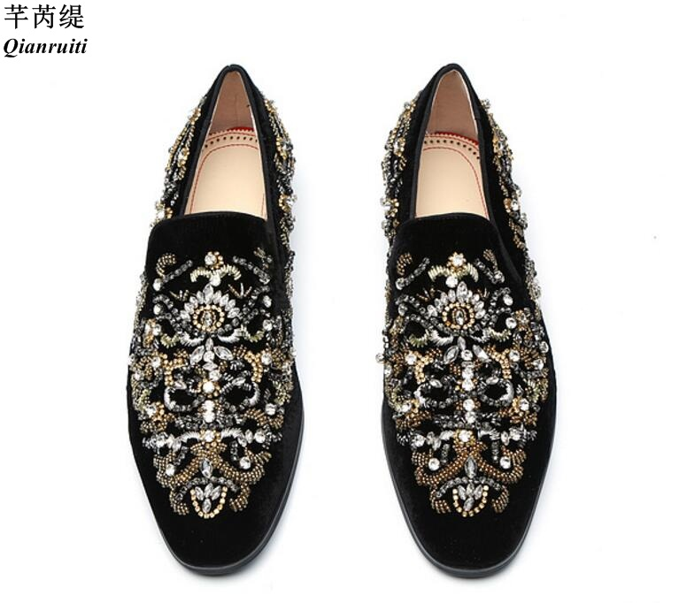Qianruiti 남자 흡연 캐주얼 신발 크리스탈 슬리퍼 꽃 라인 석 로퍼 슬립 아파트 럭셔리 신발 남자-에서남성용 캐주얼 신발부터 신발 의  그룹 1