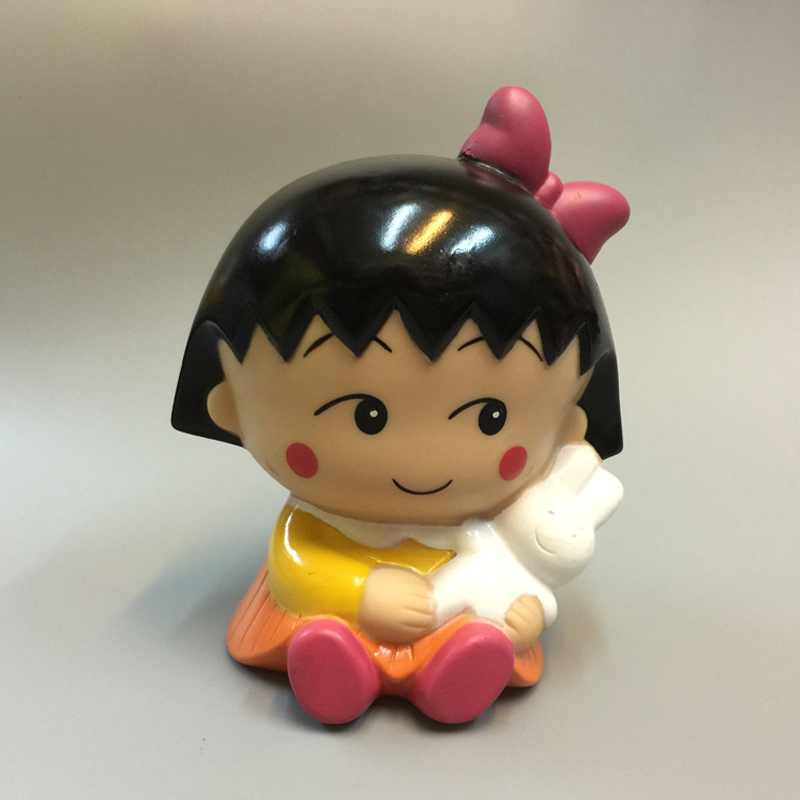 Chibi Maruko Chan Home: Popular Comic Cherry Hat Piggy Bank Bowknot Dolls Vinyl