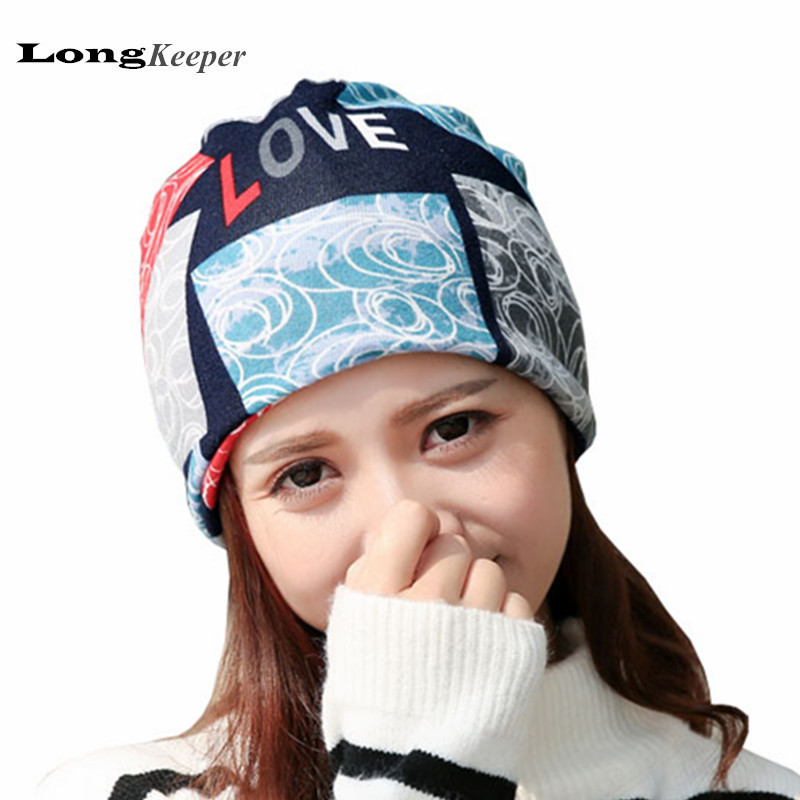 LongKeeper Women's Winter Hats Girls Love Letters Cap Flower Kintted Hats for Women Balaklava Spring Gorros Beanies 2017 Hot sleep professor spring love