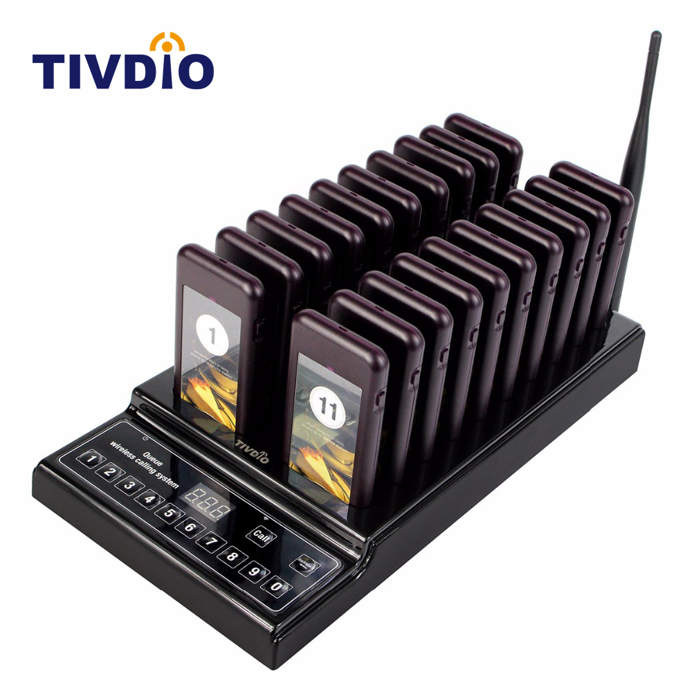 TIVDIO 20 Call Coaster Pager Restaurant Wireless Pager Queuing System Call Button Pager 999 Channel Restaurant Equipment F9402A tivdio 433mhz wireless 2 wrist watch receiver 20 calling transmitter button call pager four key pager restaurant equipment f3285