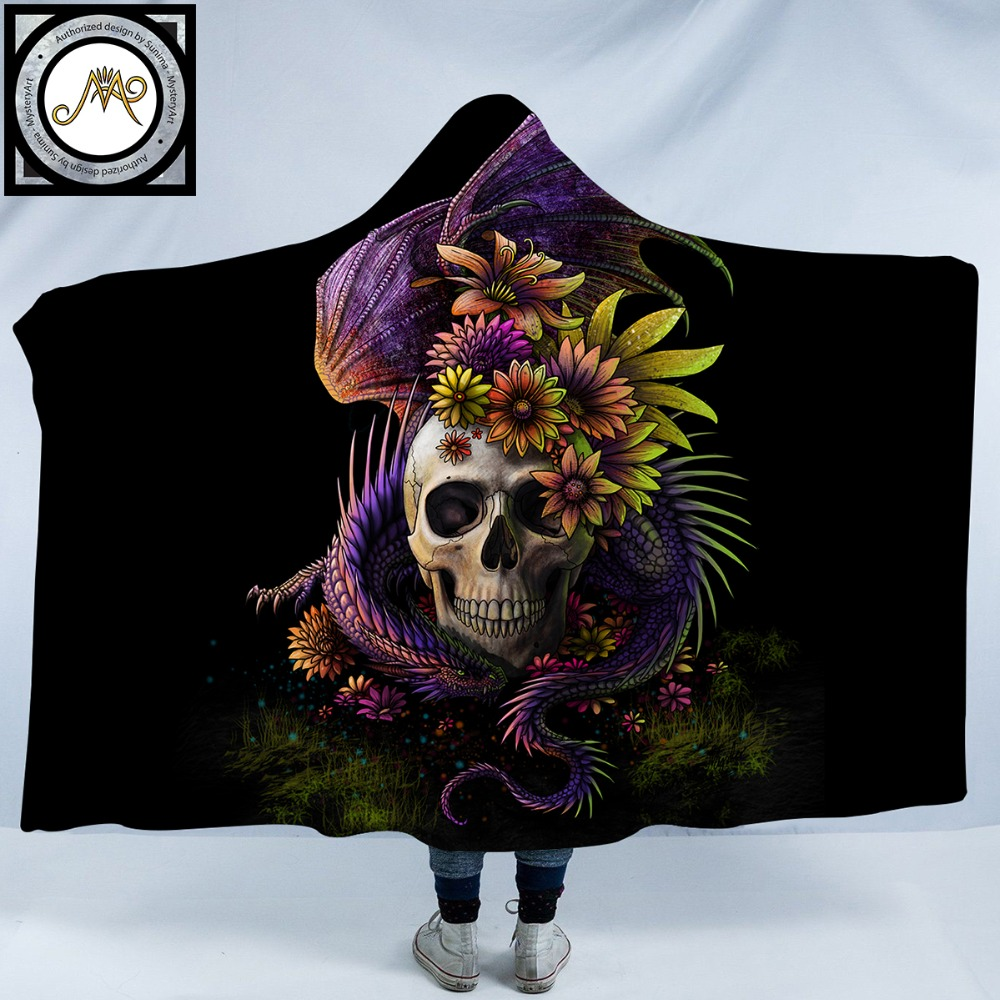 Flowery Skull by SunimaArt Hooded Blanket Flower Dragon 3d Printed Adults Kids Sherpa Fleece Wearable Throw Blanket MicrofiberFlowery Skull by SunimaArt Hooded Blanket Flower Dragon 3d Printed Adults Kids Sherpa Fleece Wearable Throw Blanket Microfiber